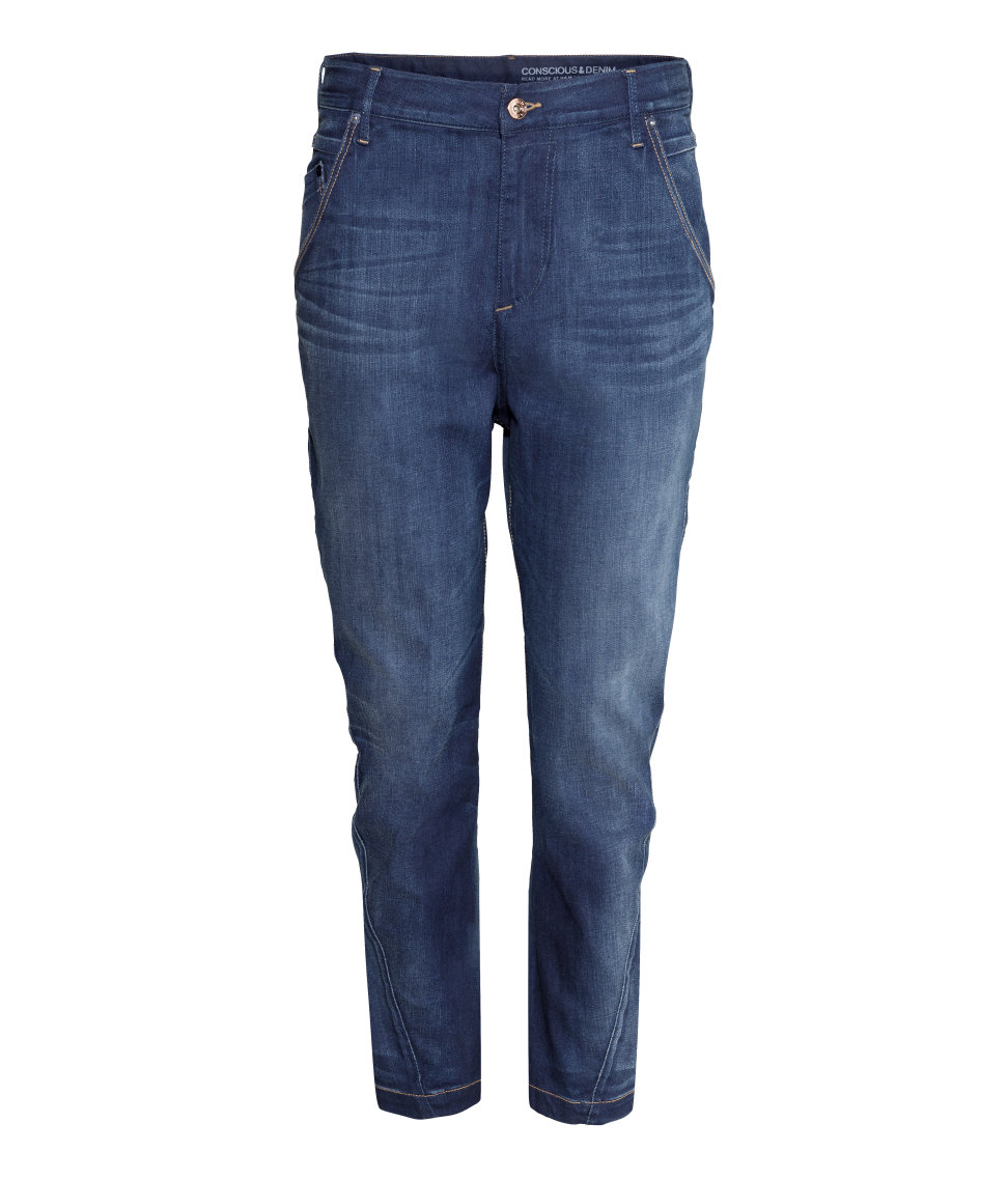 lyst h m tapered low jeans in blue. Black Bedroom Furniture Sets. Home Design Ideas