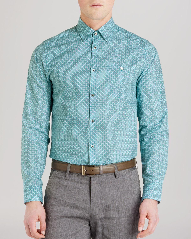 Ted baker haansel geo print button down shirt regular for Mens teal button down shirt