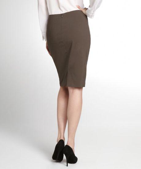 elie tahari mink brown stretch wool penelope pencil skirt