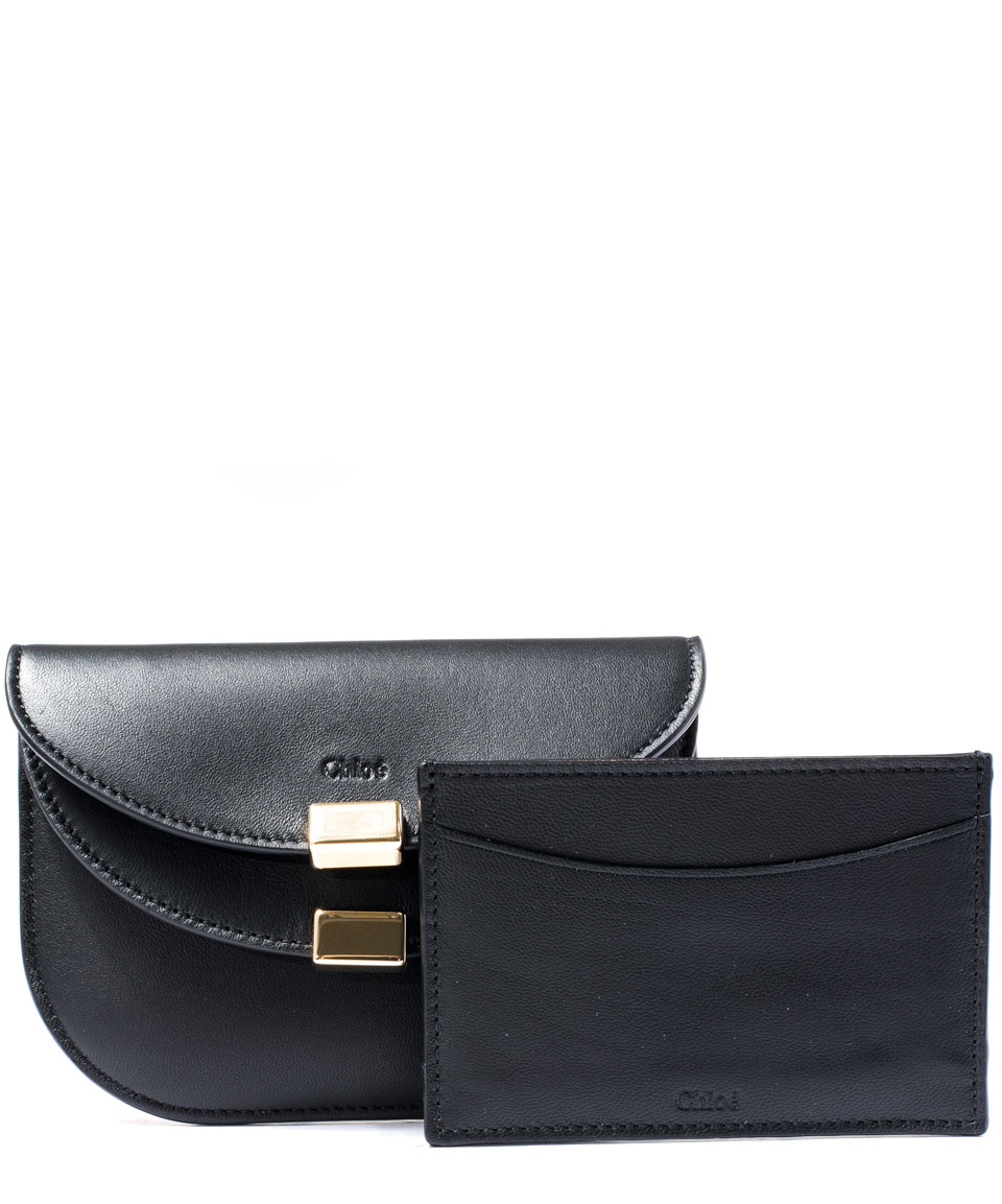 Lyst - Chloé Black Georgia Double-Flap Card Holder Purse in Black