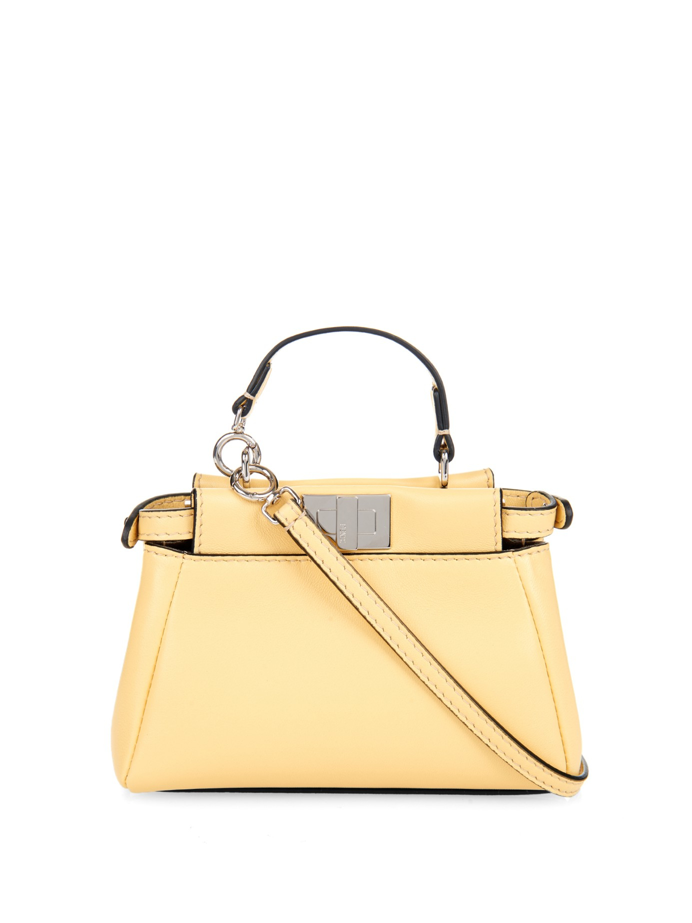 Fendi Micro Peekaboo Leather Cross-Body Bag in Yellow - Lyst efed73ba8c6d2
