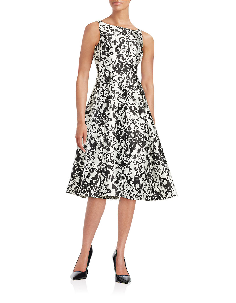 Lyst Adrianna Papell Damask Fit And Flare Dress In Black