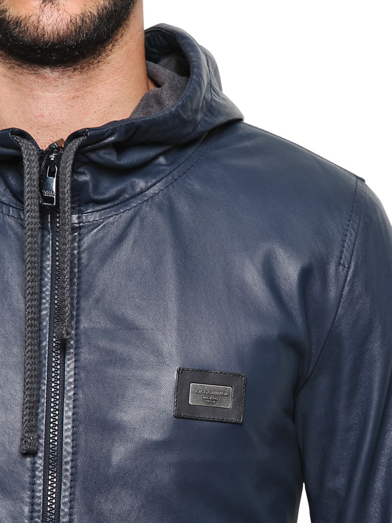Dolce & gabbana Soft Nappa Leather Hooded Jacket in Blue for Men ...