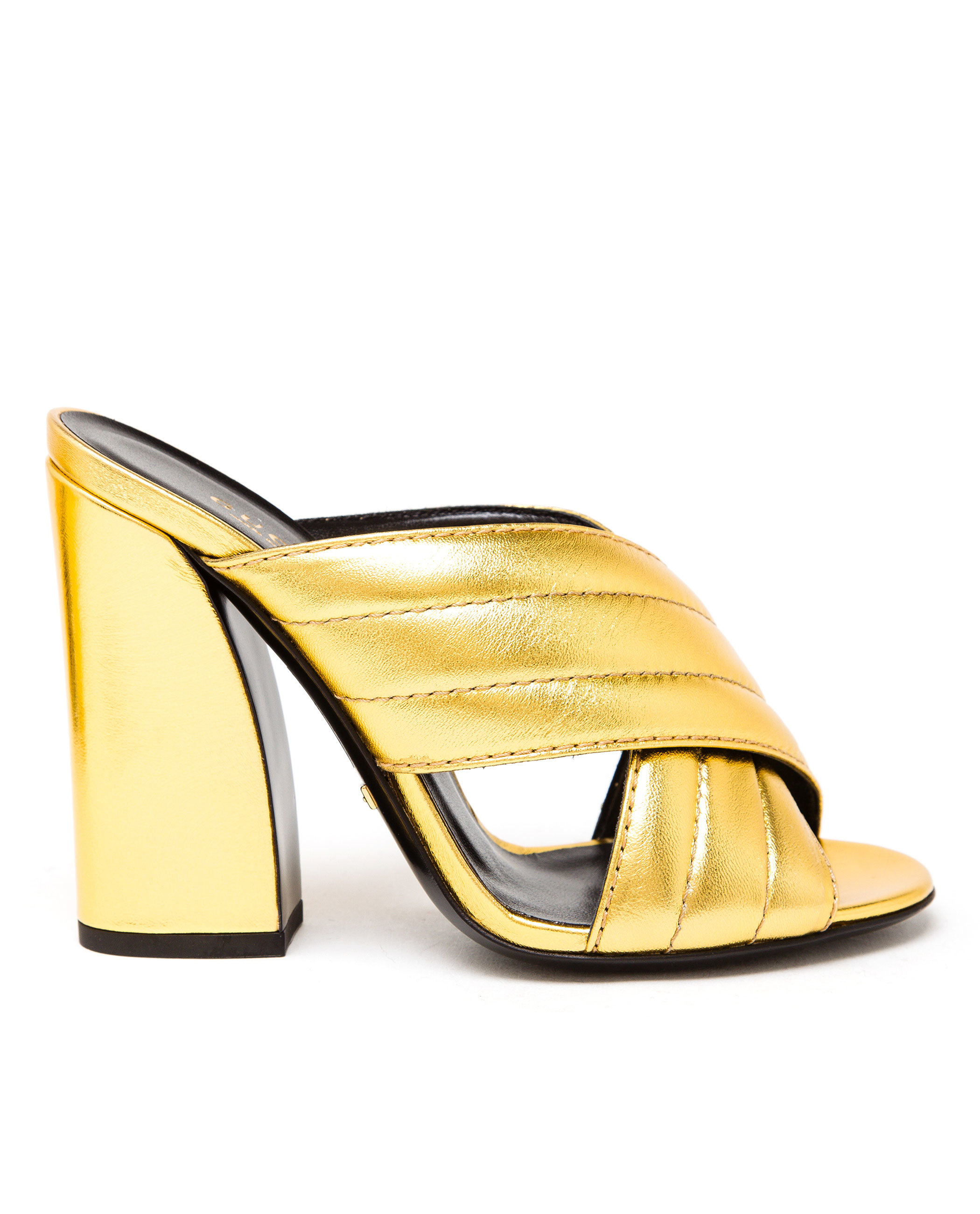 Gucci Padded Metallic Leather Mules - Lyst