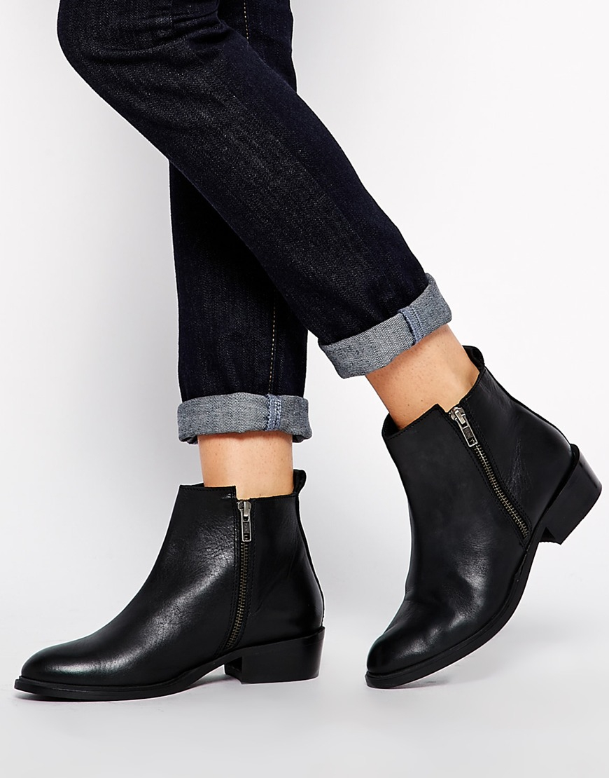 dune pippie black pointed flat ankle boots in black lyst