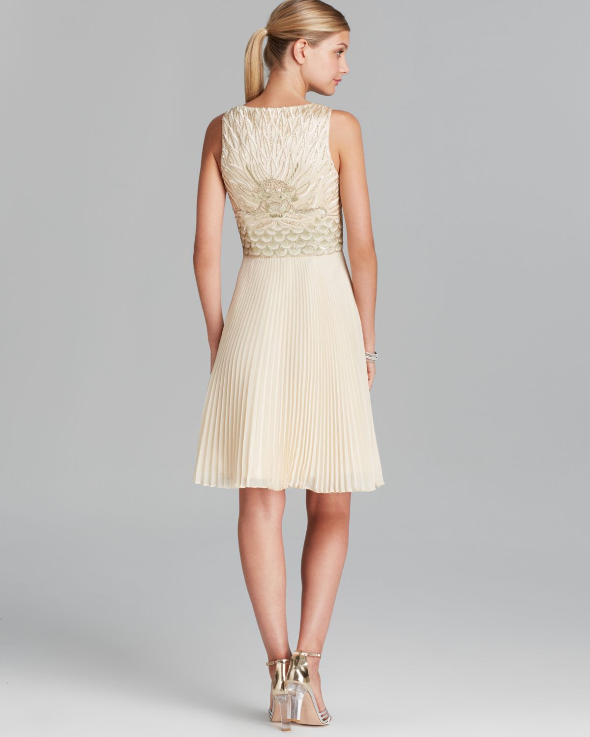 Sue Wong Dress V Neck Beaded Bodice Fit And Flare With