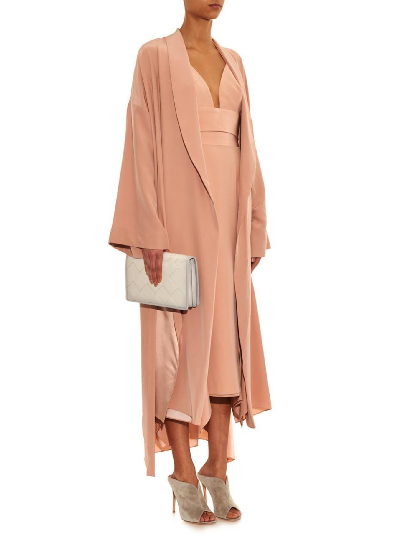 juan carlos obando shawl lapel coat in natural lyst. Black Bedroom Furniture Sets. Home Design Ideas