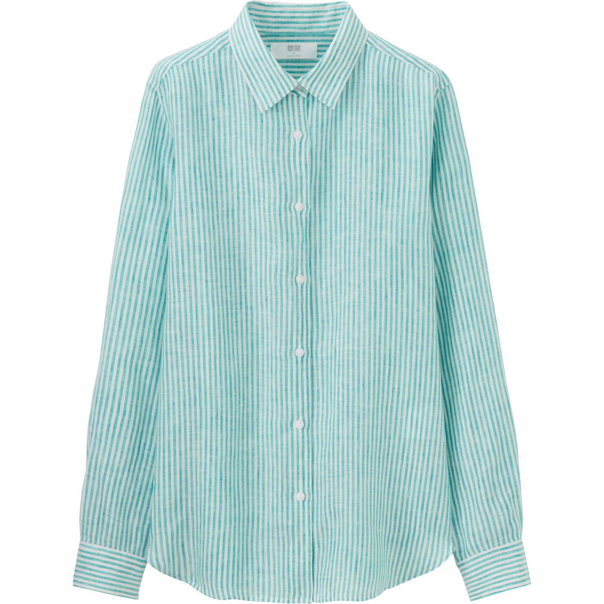 Uniqlo Women 39 S Premium Linen Patterned Long Sleeve Shirt