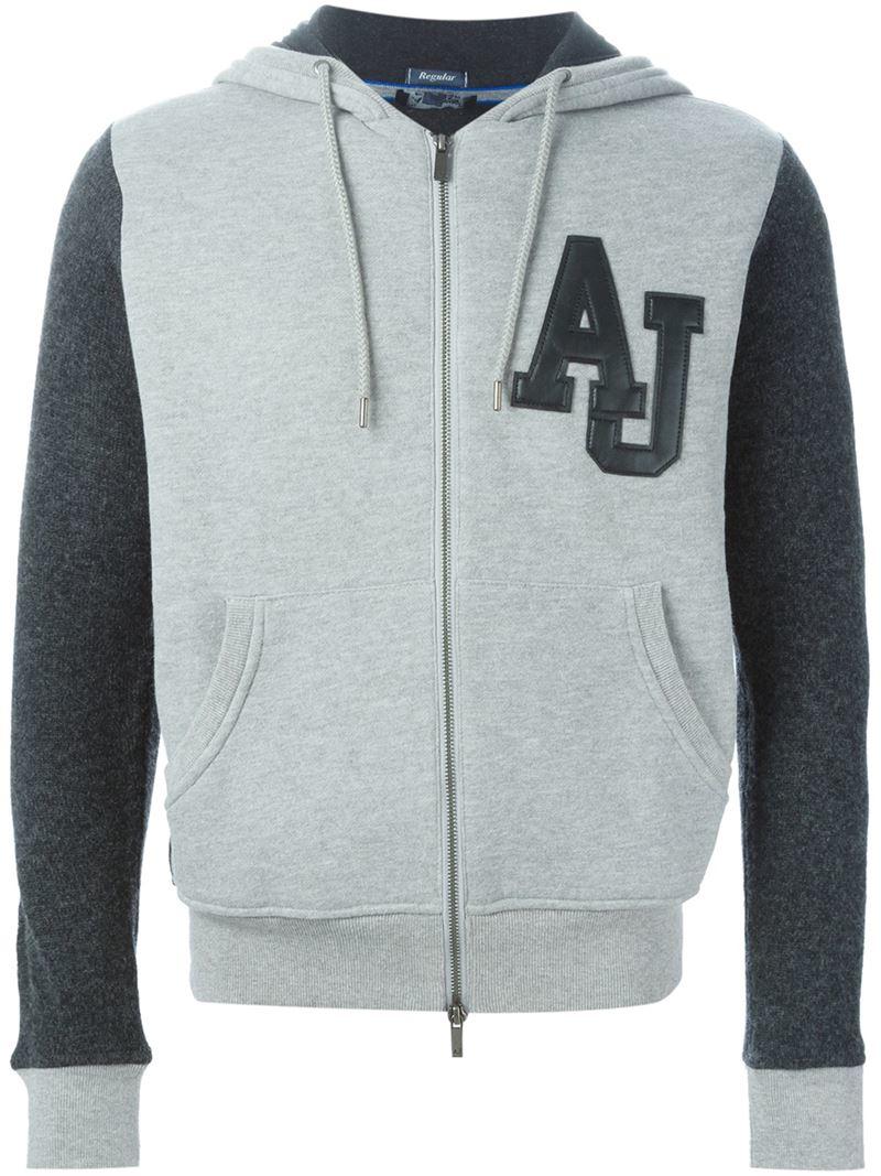 83fa4f407b Armani Jeans Gray Bi-colour Zipped Hoodie for men