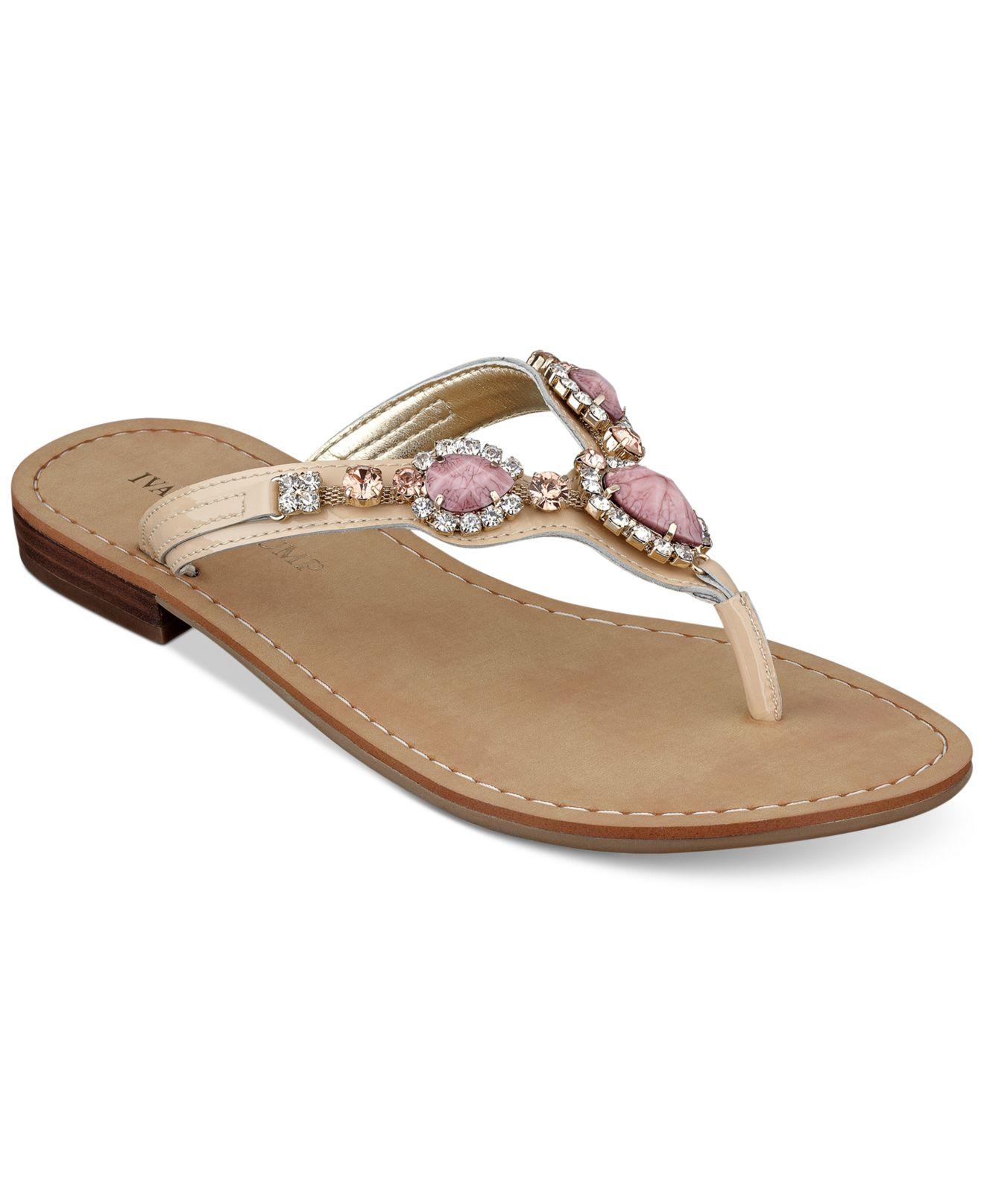 Ivanka Trump Palla Jeweled Thong Sandals In Pink Lyst