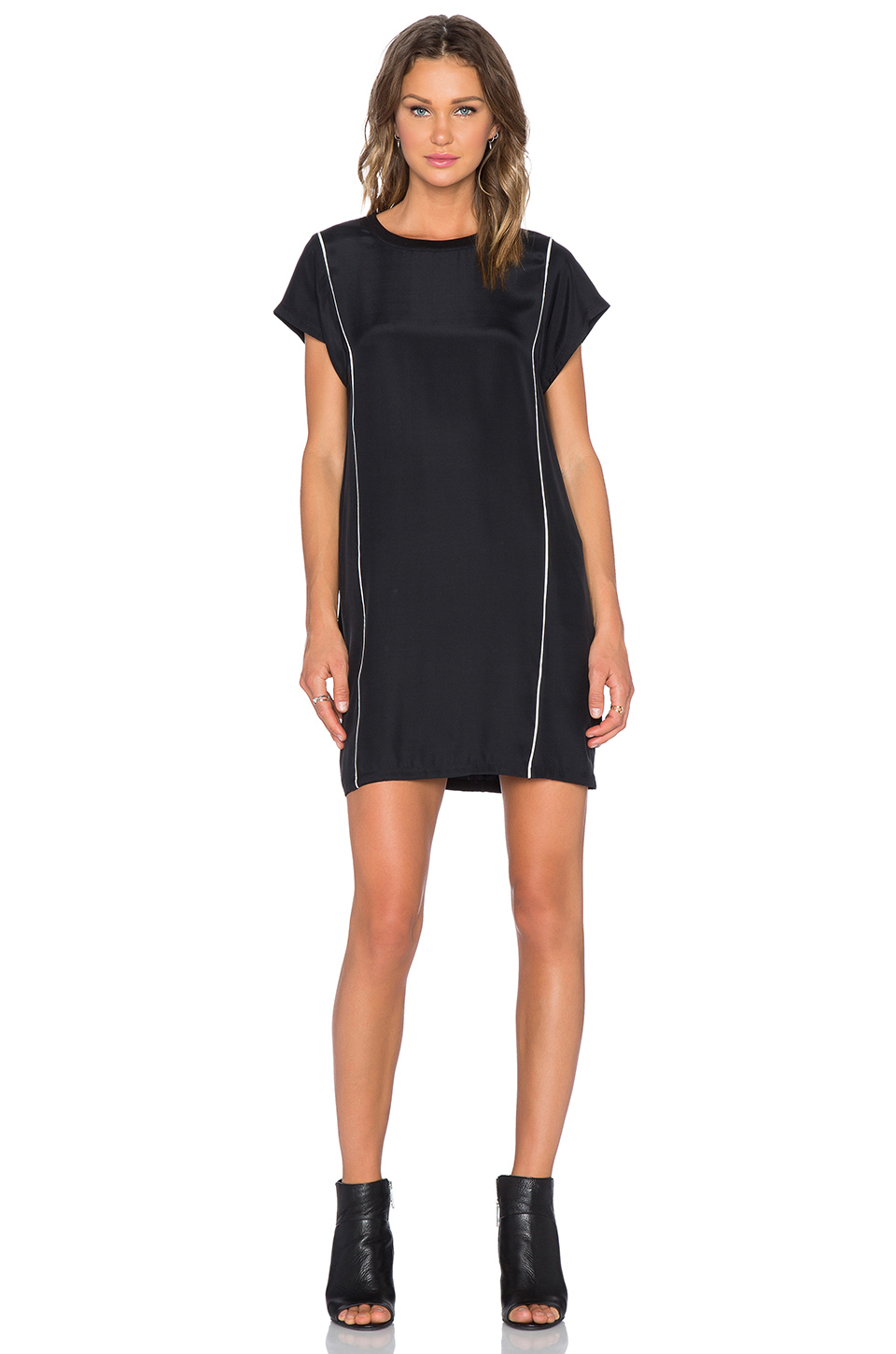 Atm piped silk t shirt dress in black lyst for Atm t shirt sale