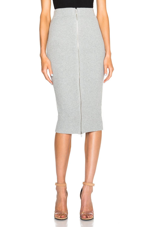 By Alexander Wang Rib Knit Zip Pencil Skirt in Gray | Lyst