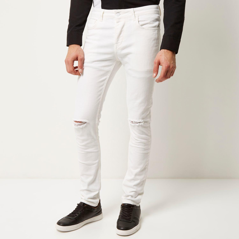 River Island Denim White Ripped Sid Skinny Jeans for Men