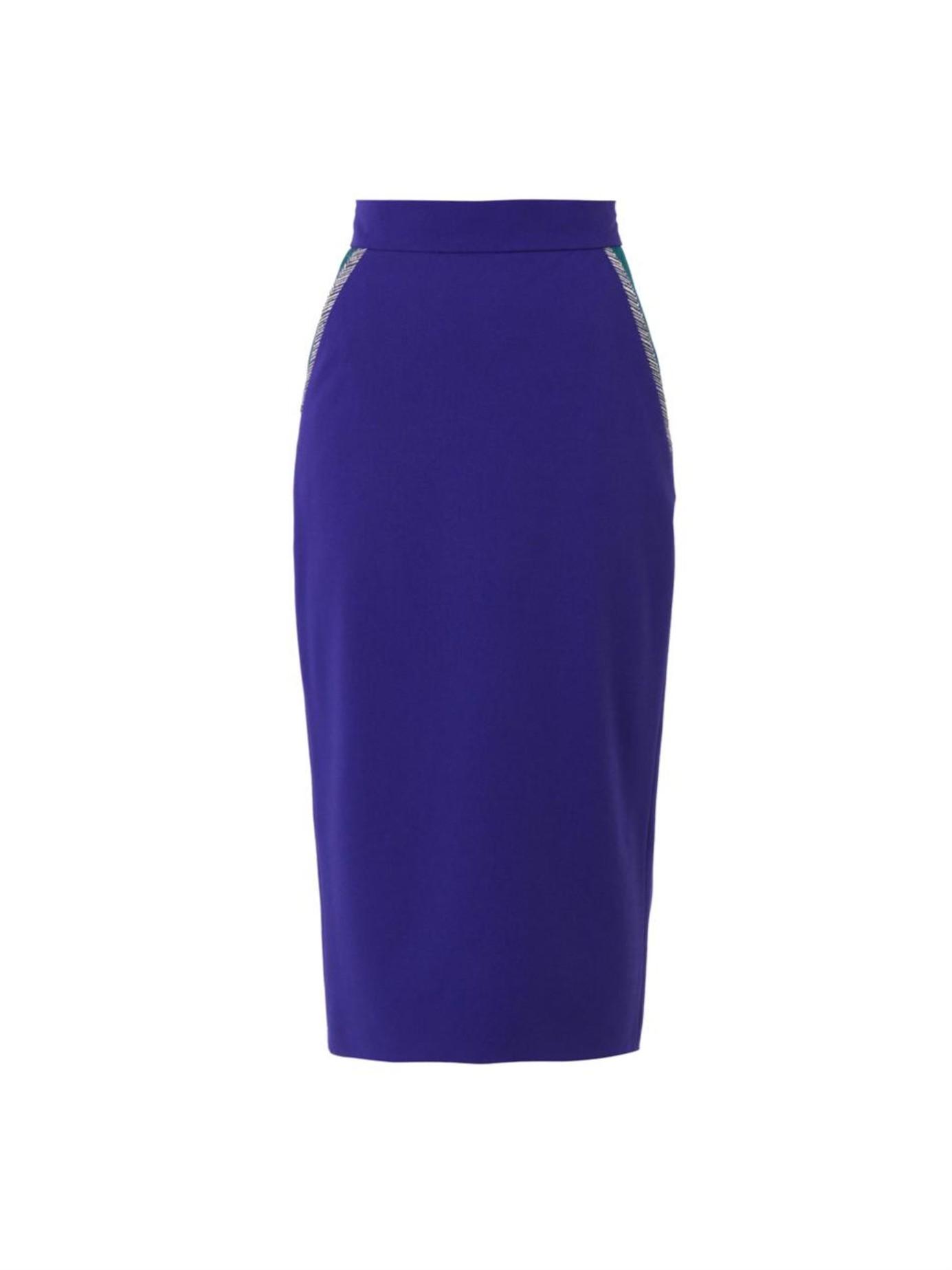 roksanda arwen stretch wool midi pencil skirt in blue lyst