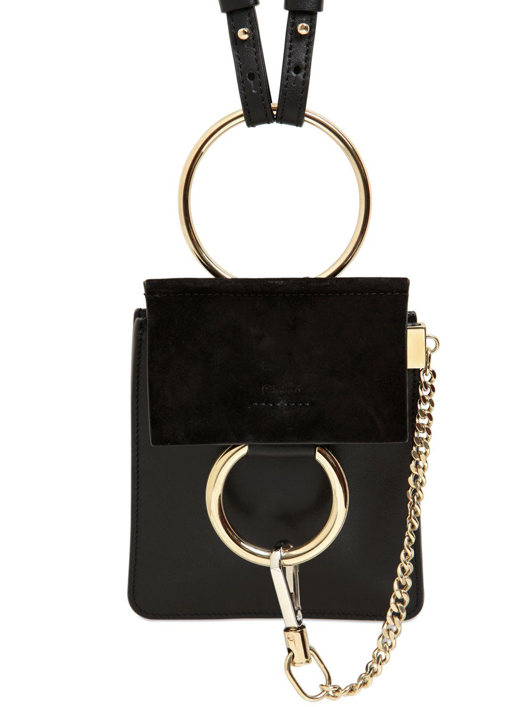 Chlo 233 Mini Faye Leather Amp Suede Shoulder Bag In Black Lyst