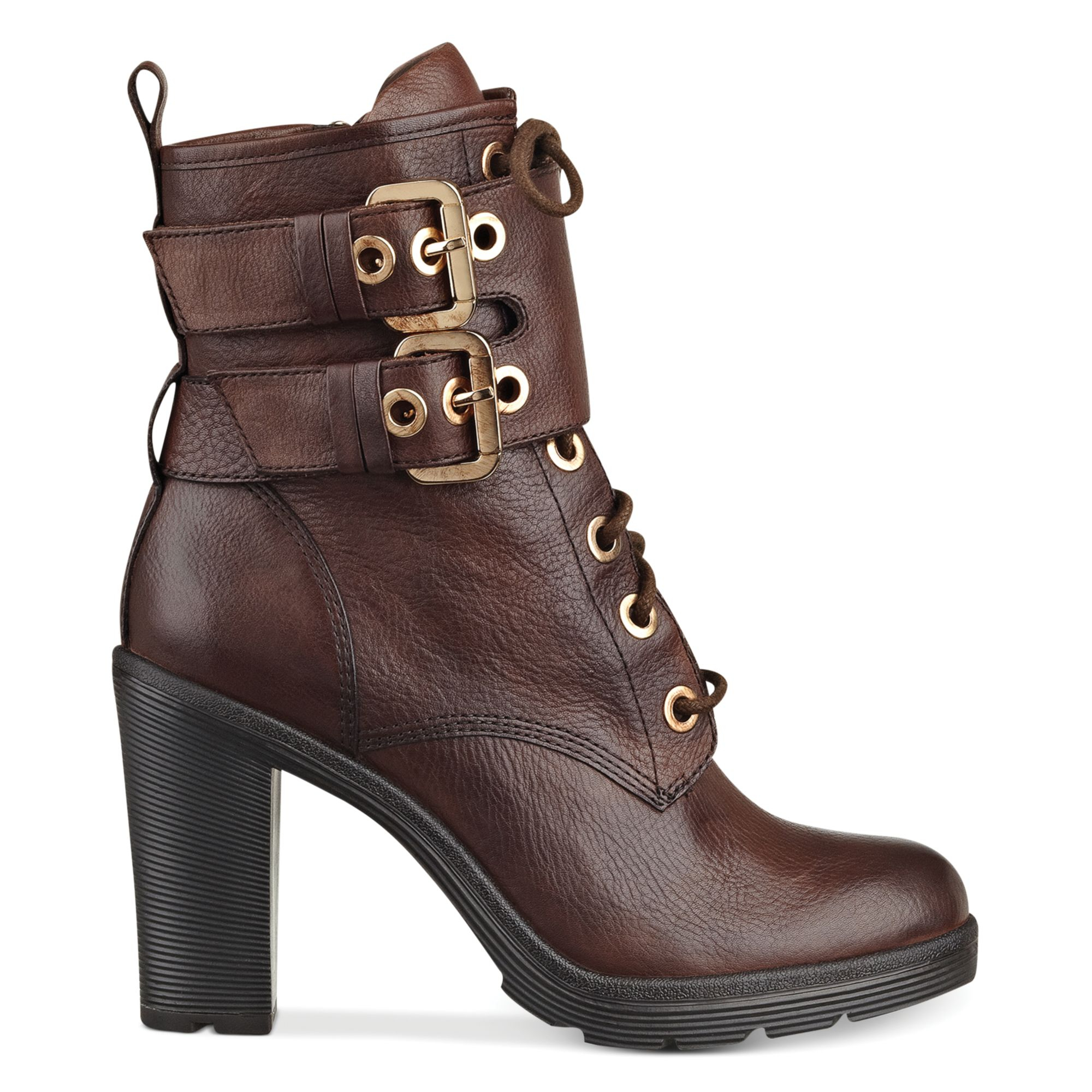 Lyst - Guess Womens Finlay High Heel Combat Booties In Brown-2740