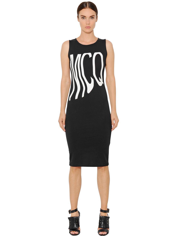 Mcq Logo Printed Heavy Cotton Jersey Dress In Black Lyst