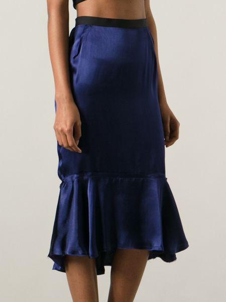 lanvin peplum hem skirt in blue lyst