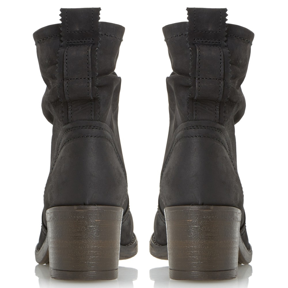 Dune Polizzi Leather Block Heeled Ankle Boots in Black