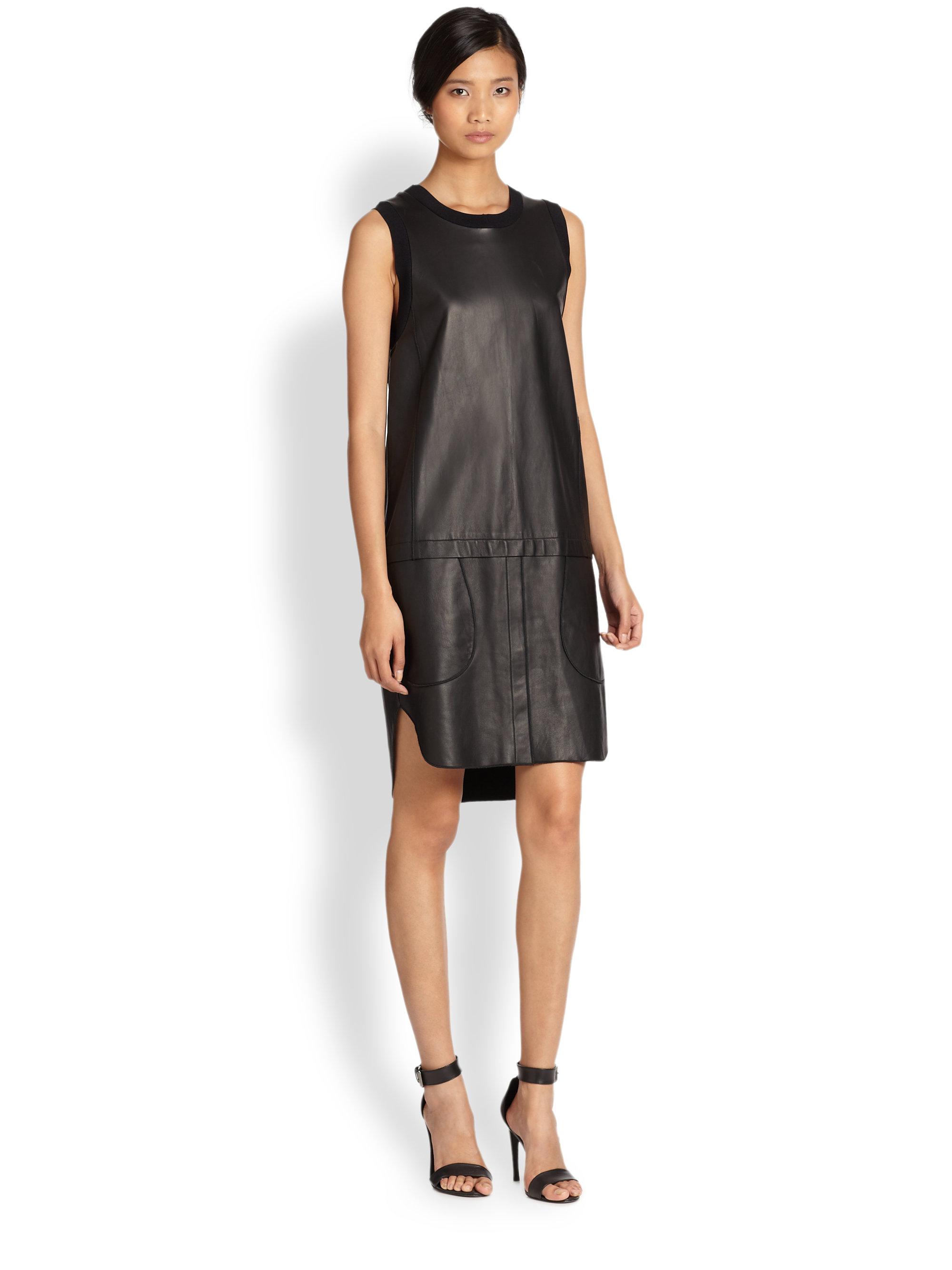 10 Crosby Derek Lam Leather Dress In Black Lyst