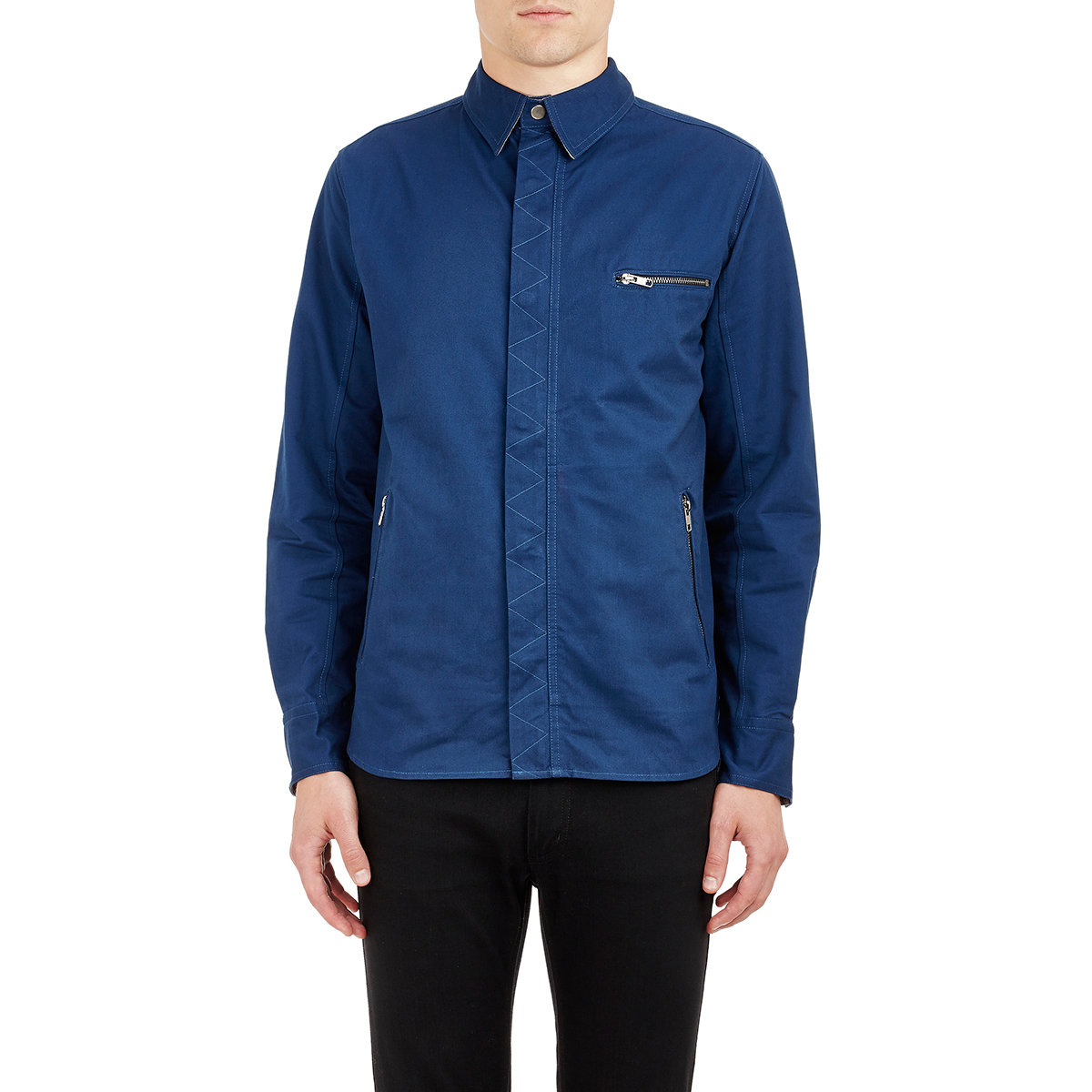 Lyst barneys new york men 39 s canvas shirt jacket in blue for New york and company dress shirts