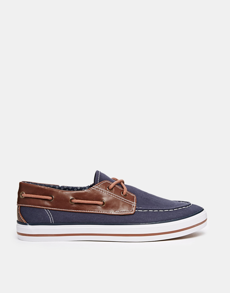 asos boat shoes in navy canvas with details in blue