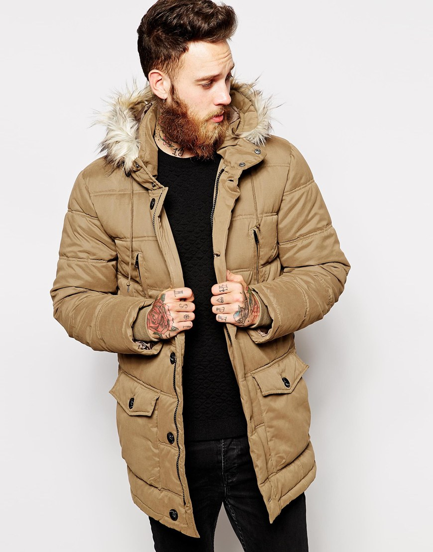 Asos Quilted Parka Jacket in Brown for Men | Lyst