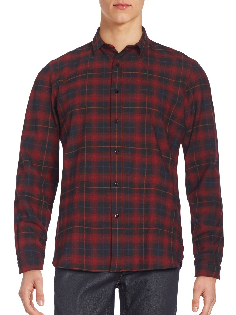 The kooples slim fit plaid flannel sportshirt in red for for Mens slim fit flannel shirt