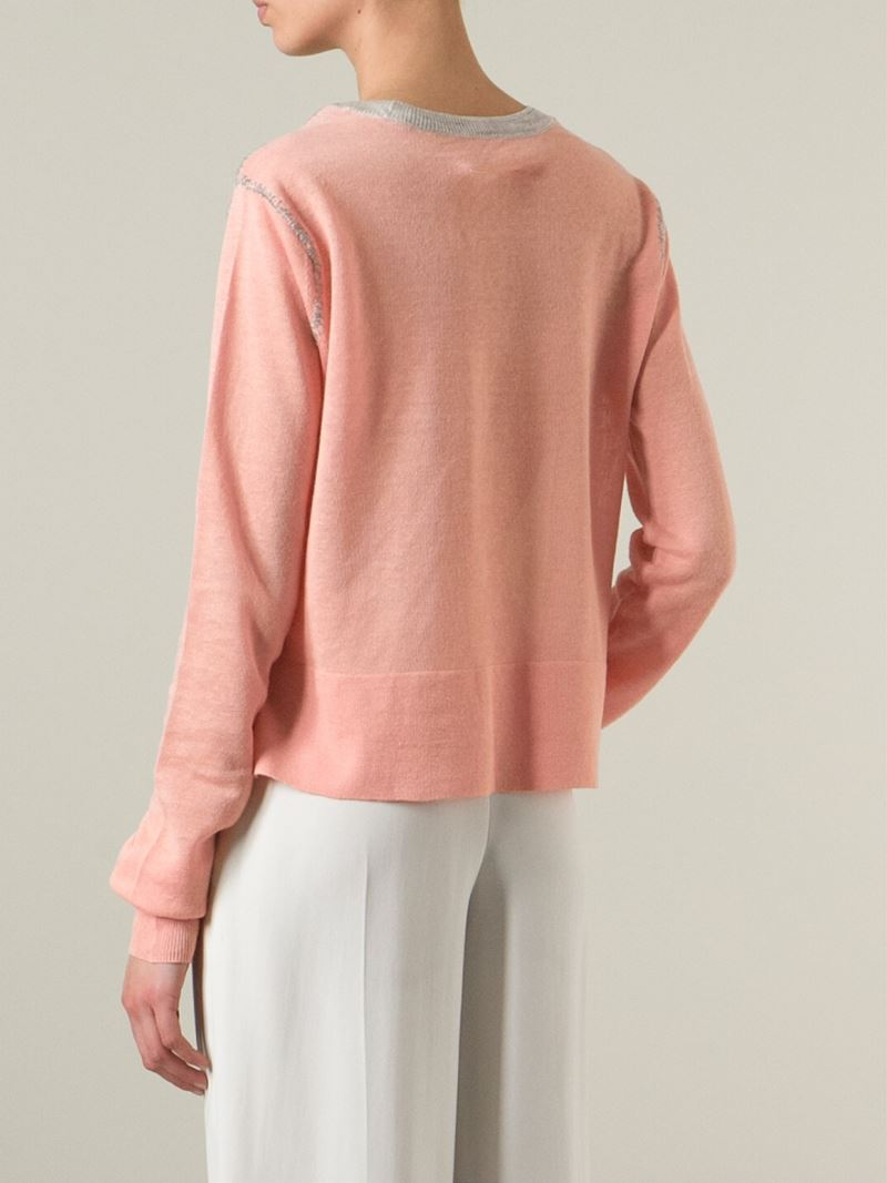 Mm6 by maison martin margiela Colour Block Sweater in Pink | Lyst