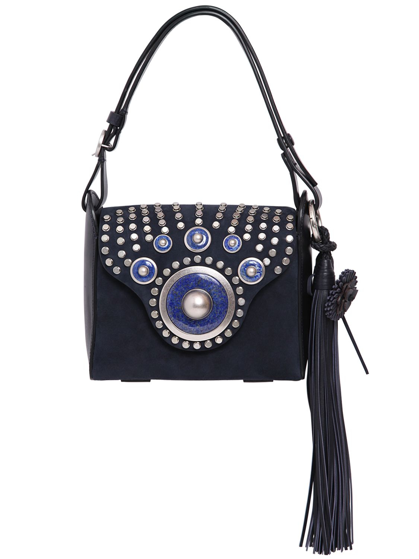 Tory Burch Embellished Suede Shoulder Bag In Navy Blue