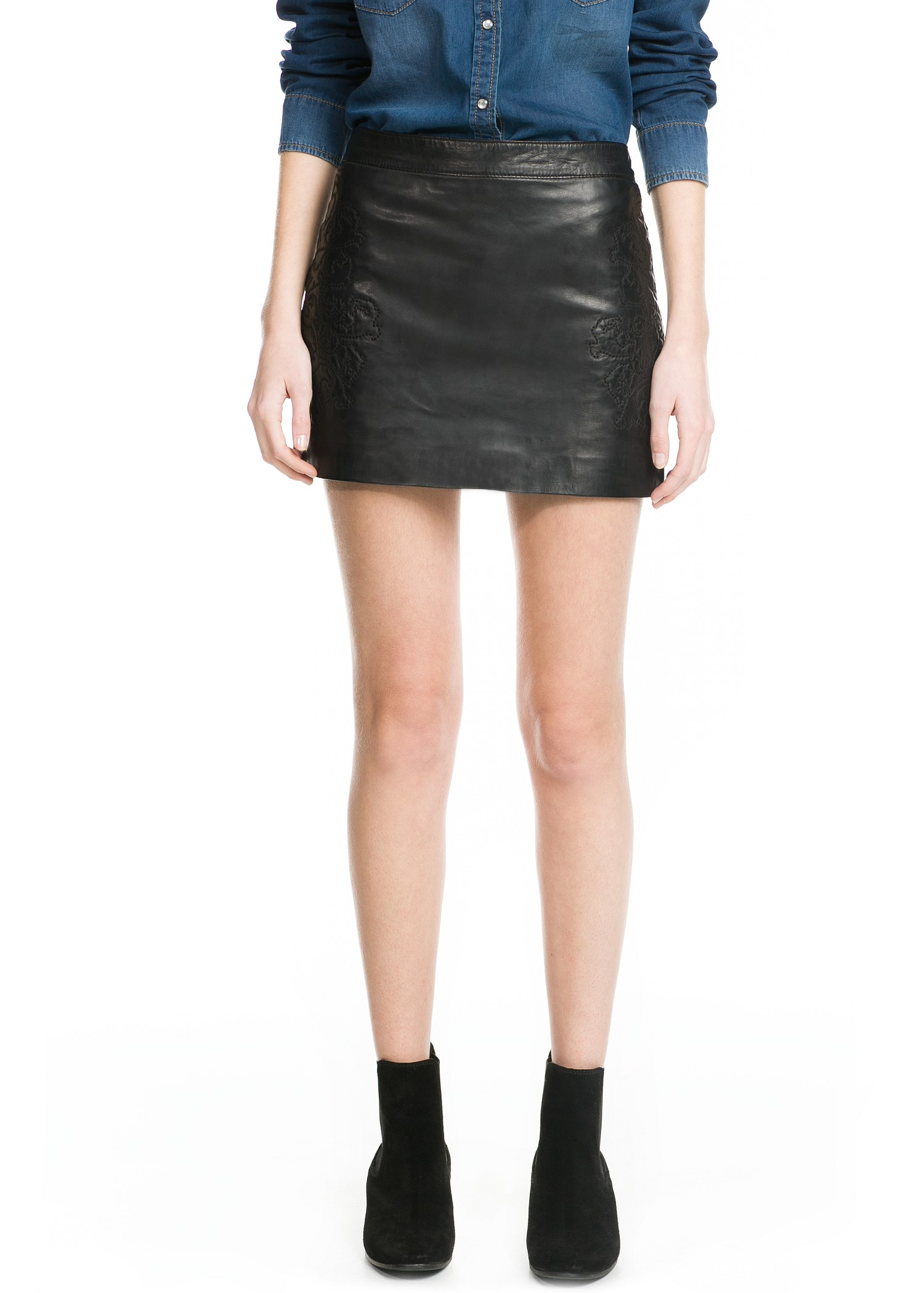 mango embroidered leather skirt in black lyst