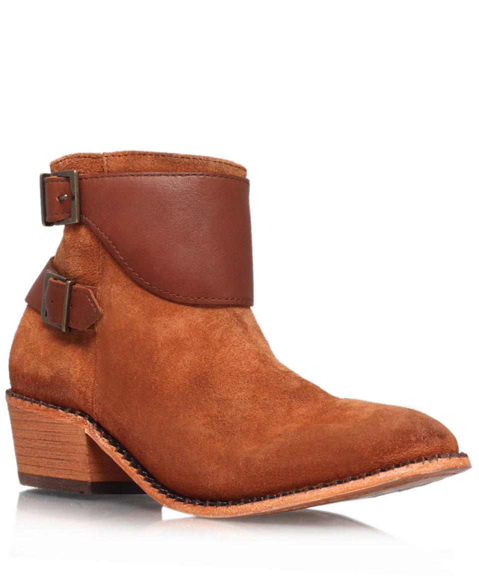 h by hudson light brown suede lumo ankle boots in brown