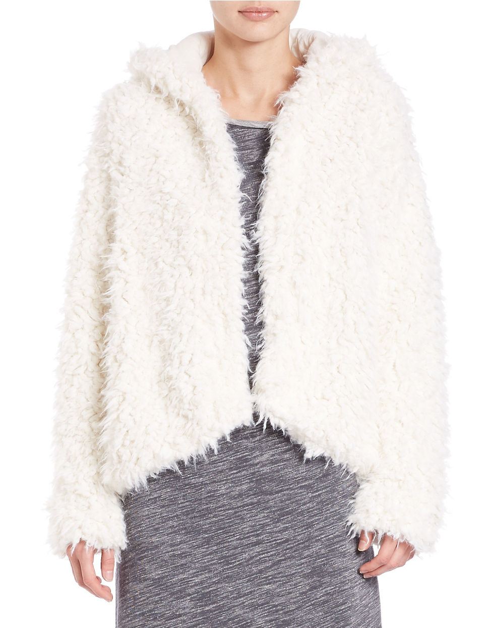 a0f53210edd6 Free people Hooded Faux Fur Jacket in White