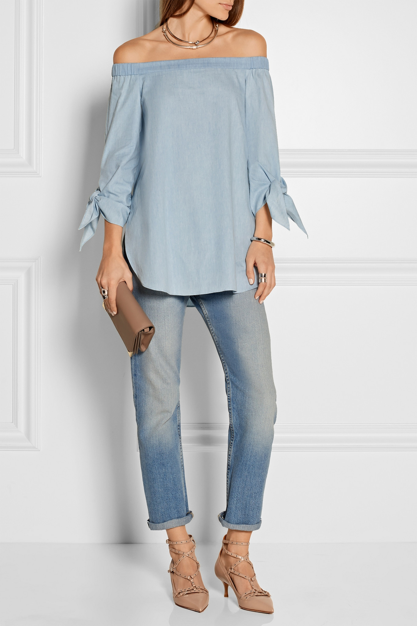 d2285ccfd01 Tibi Blue Off-the-shoulder Cotton-chambray Top