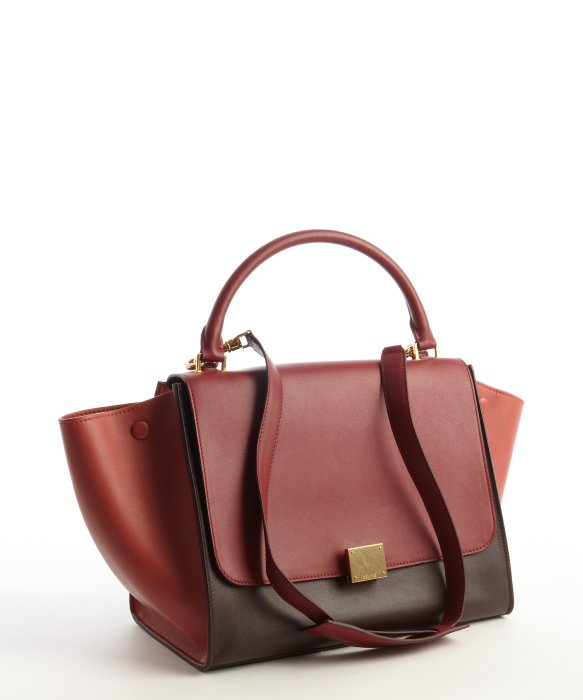 C��line Burgundy and Maroon Leather Trapeze Top Handle Bag in Red ...