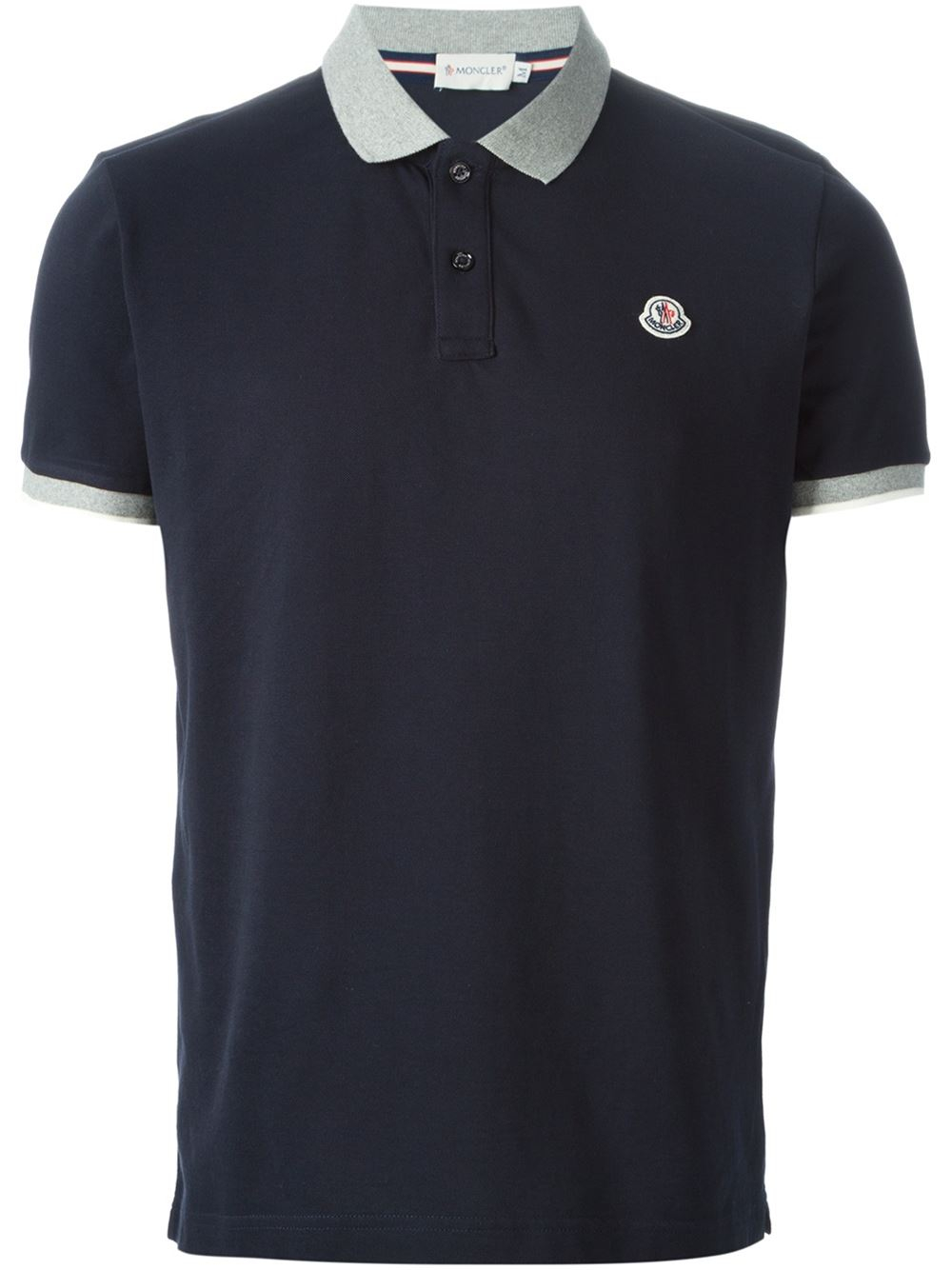 lyst moncler contrast collar polo shirt in blue for men. Black Bedroom Furniture Sets. Home Design Ideas