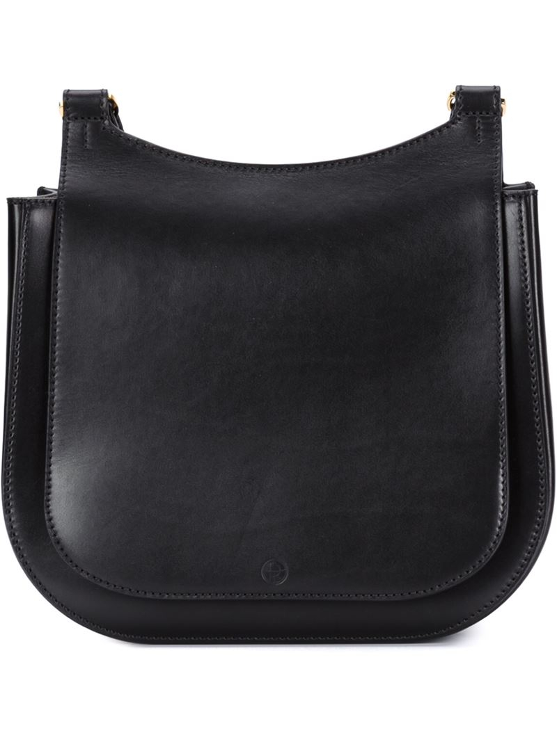 The Row Hunting Leather Shoulder Bag In Black Lyst