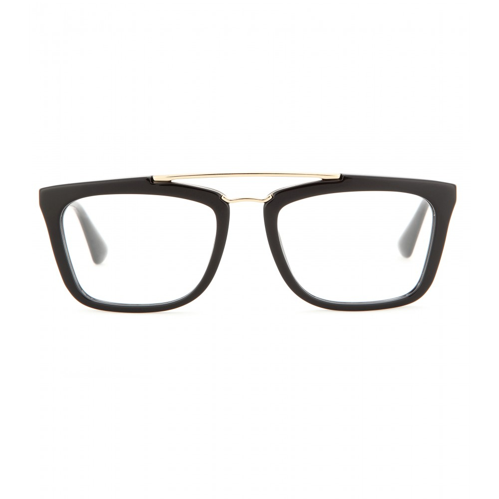 Prada Red Frame Glasses : Prada Geometric-Frame Optical Glasses in Metallic Lyst