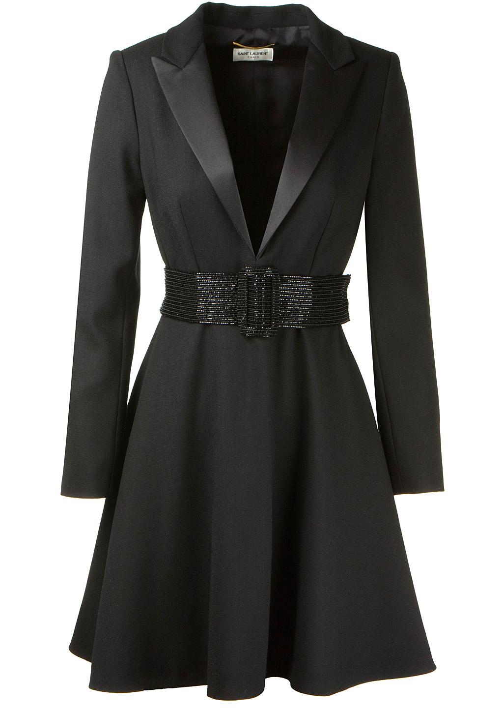Saint Laurent Black Wool Tuxedo Dress In Black Lyst