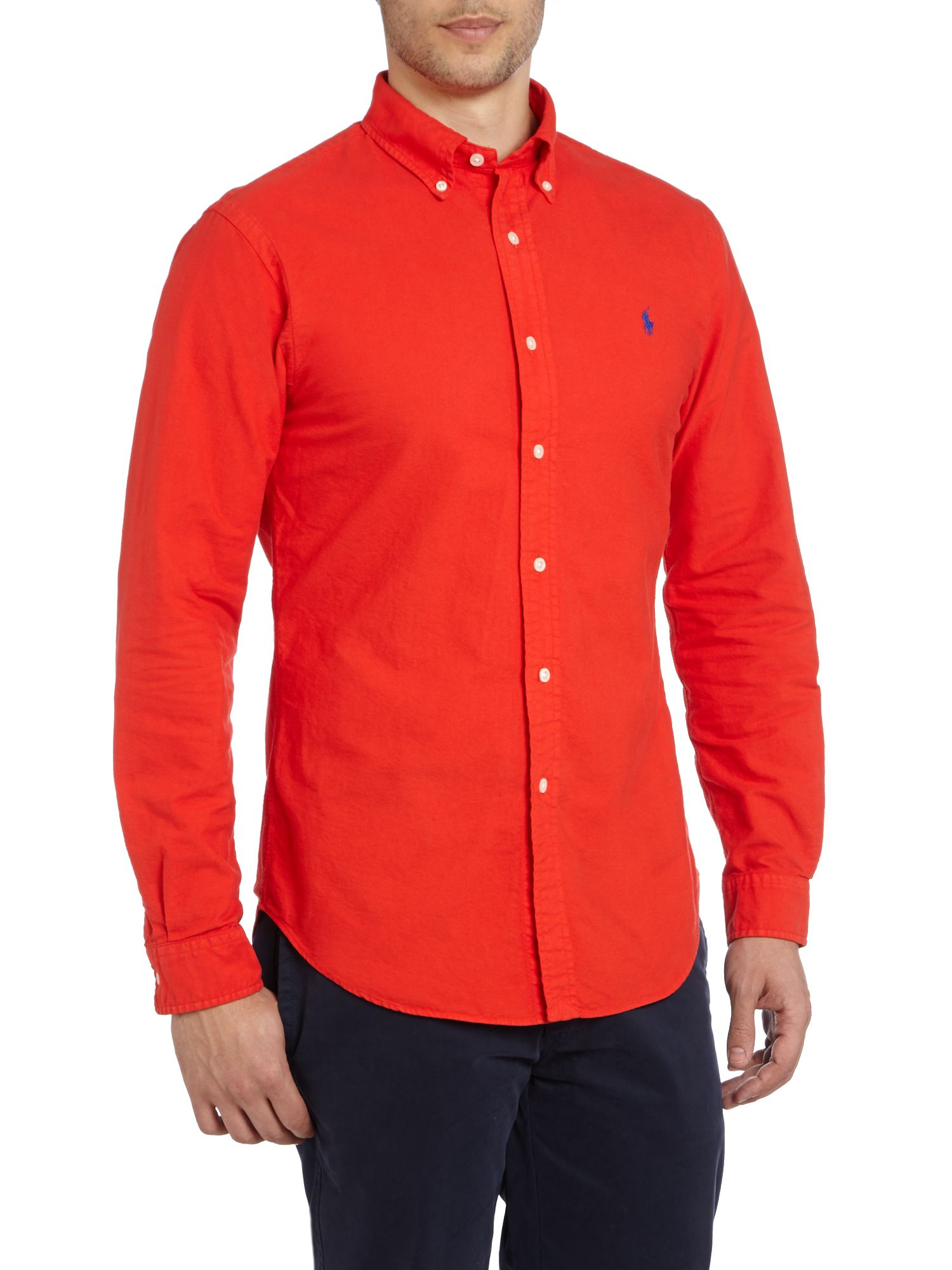 lyst polo ralph lauren ralph lauren oxford slim fit shirt in red for men. Black Bedroom Furniture Sets. Home Design Ideas