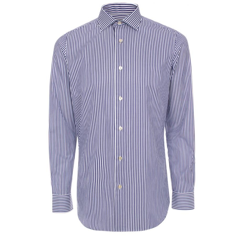 Paul Smith Men 39 S Navy And White Candy Stripe Shirt In Blue