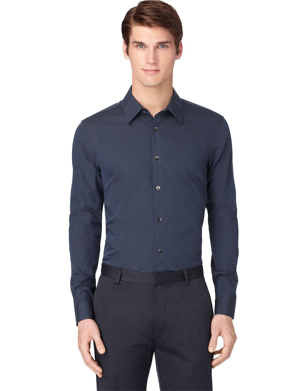 calvin klein slim fit poplin mini stripe sportshirt in blue for men lyst. Black Bedroom Furniture Sets. Home Design Ideas
