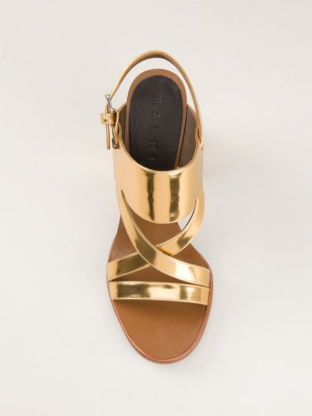 Chunky Heel Gold Sandals ~ High Heel Sandals