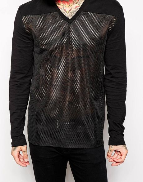 Asos Oversized Long Sleeve T Shirt With Mesh Panel And V