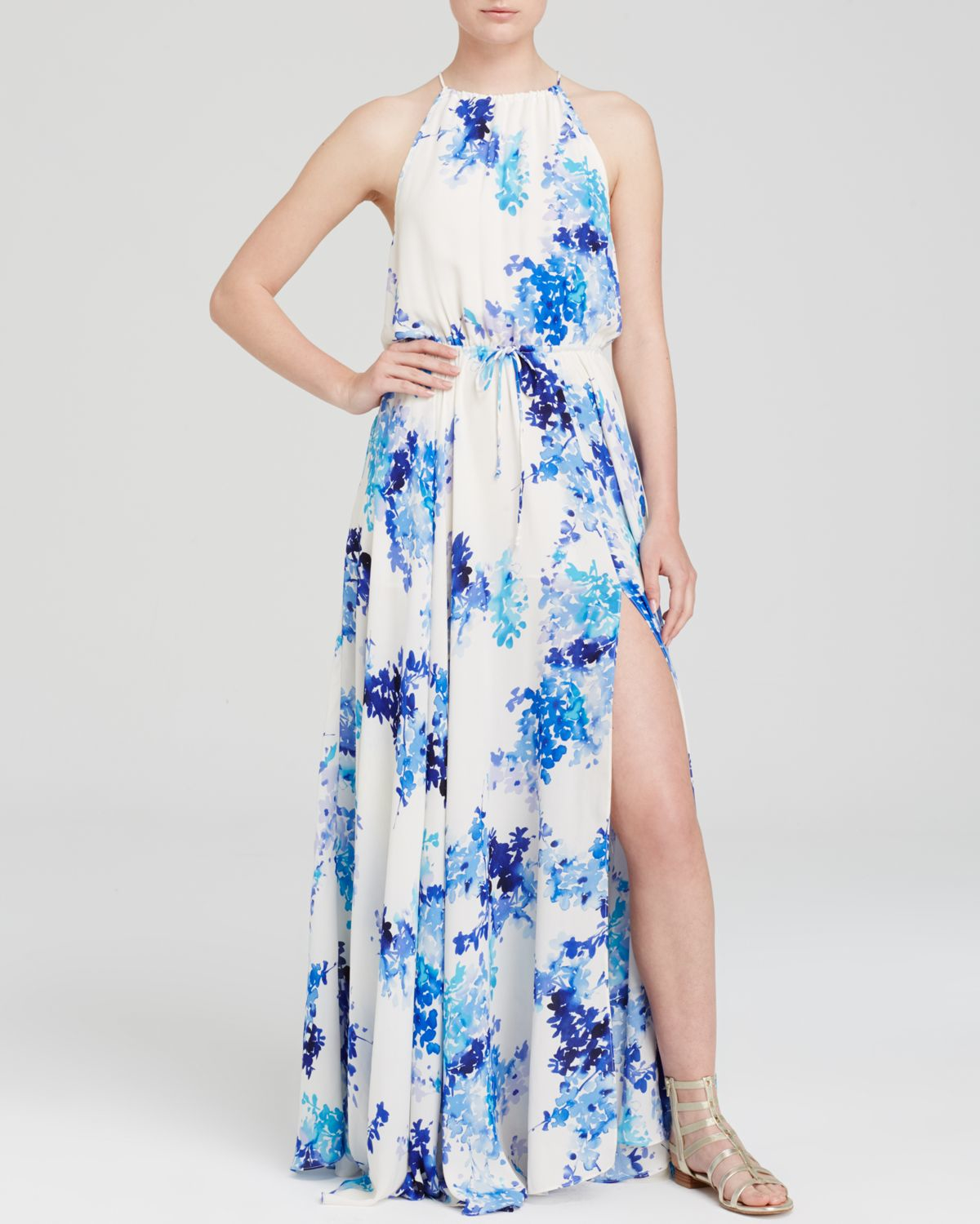 Lyst Olivaceous Floral Maxi Dress In White