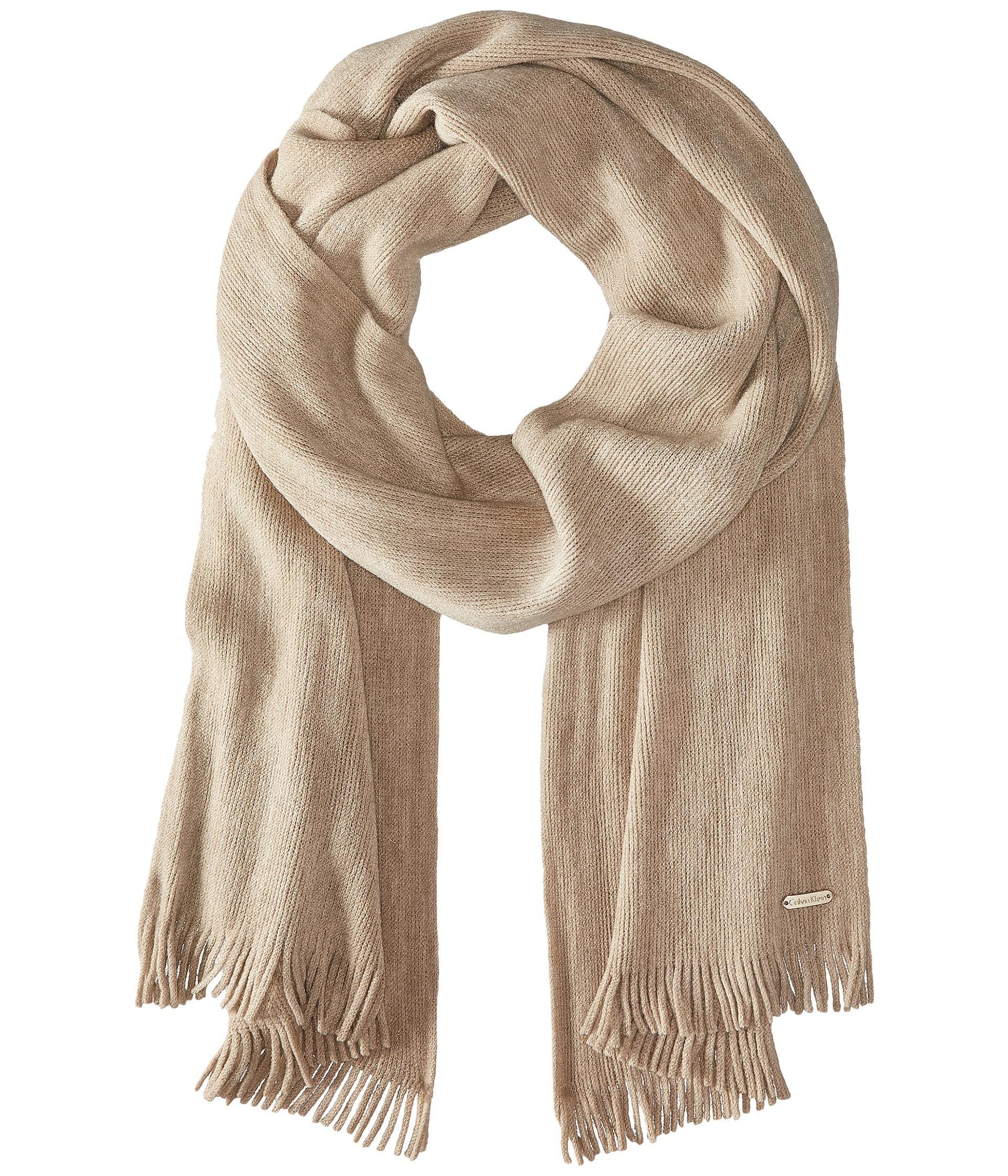 calvin klein soft acrylic fringe scarf in beige heathered