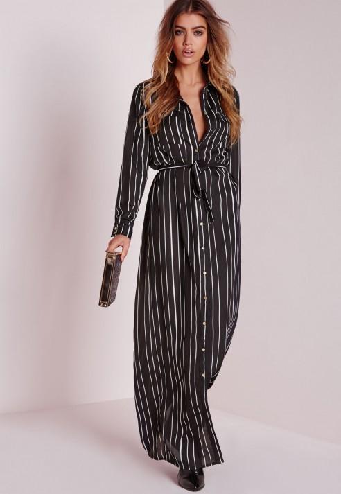 Missguided Maxi Length Long Sleeve Tie Waist Shirt Dress Stripe in ...