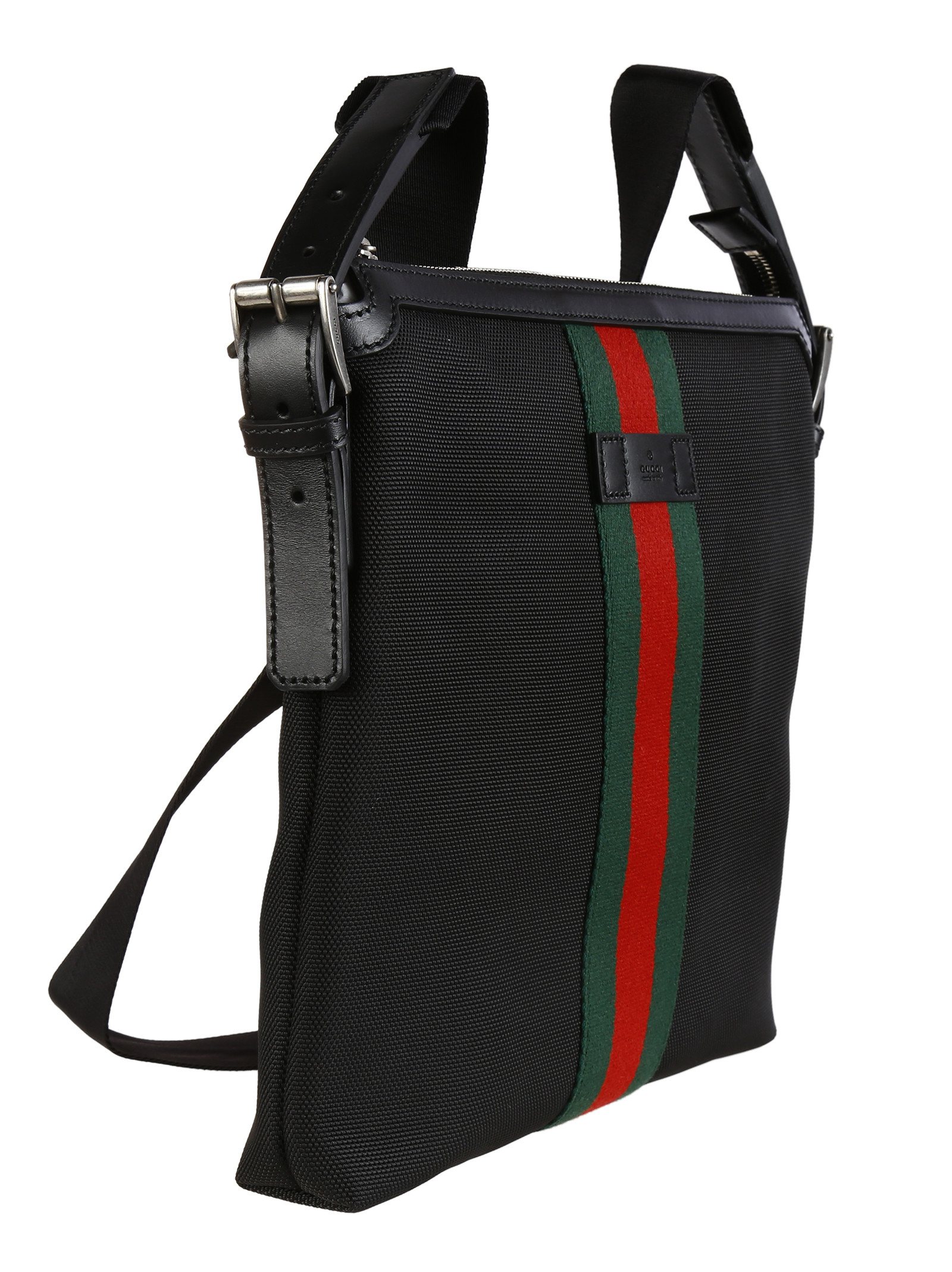 e77fa991462e Gucci Web Band Canvas Small Messenger Bag in Black for Men