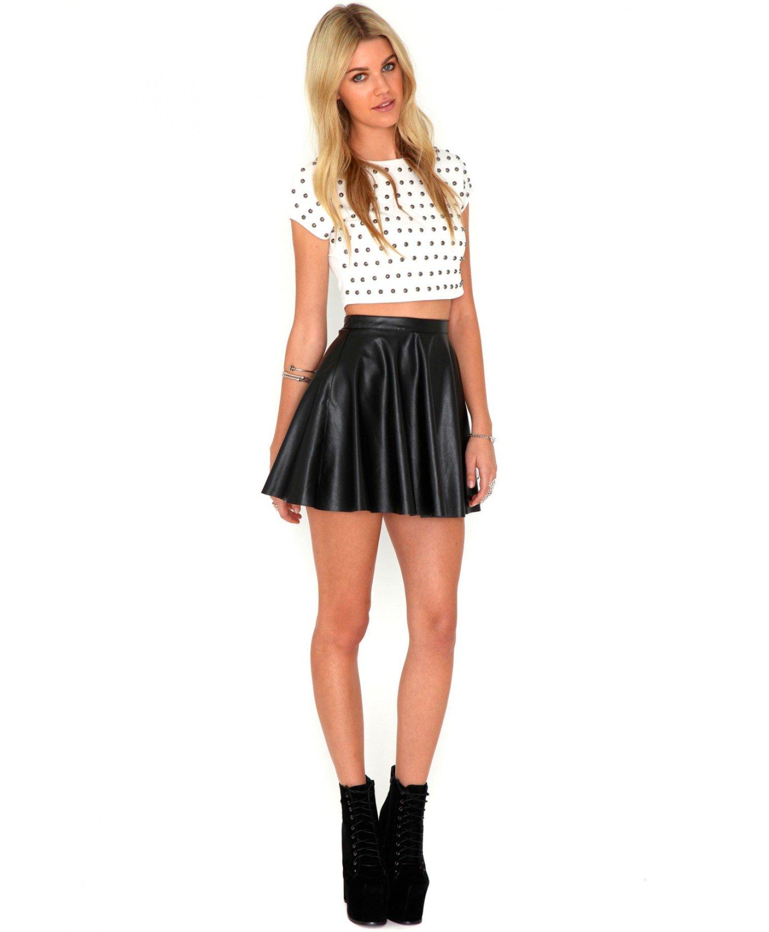 d3770b9a11 Leather Skater Skirt | Skirt Direct