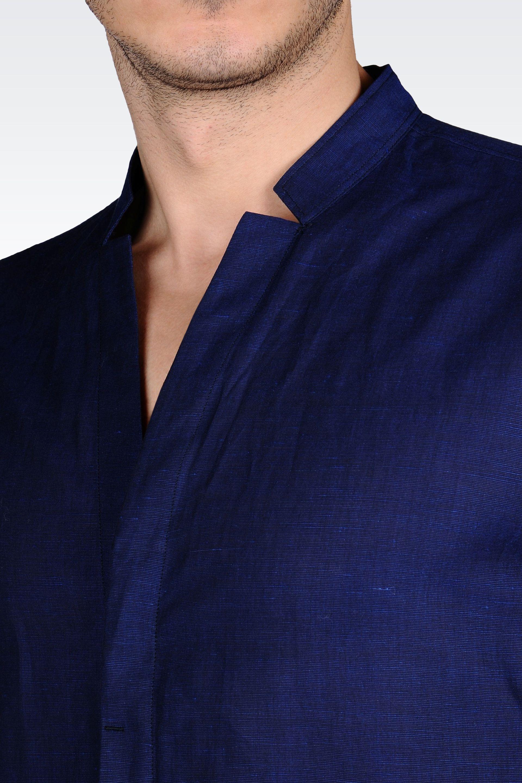 Emporio Armani Linen Cotton Shirt With Open Collar In Dark